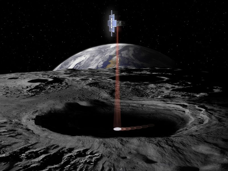 Vertical beam of light over a gray rocky surface with Earth and stars in background over the lunar horizon.