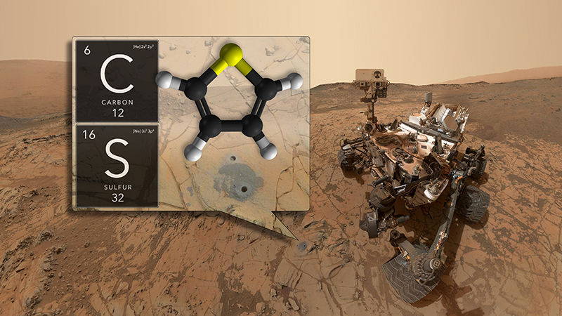Mechanical rover sitting on red terrain with inset graphic of a molecule in thought bubble shape.