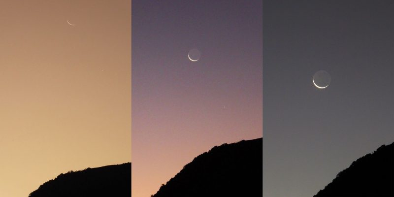 Three views of the crescent moon setting over a hill.