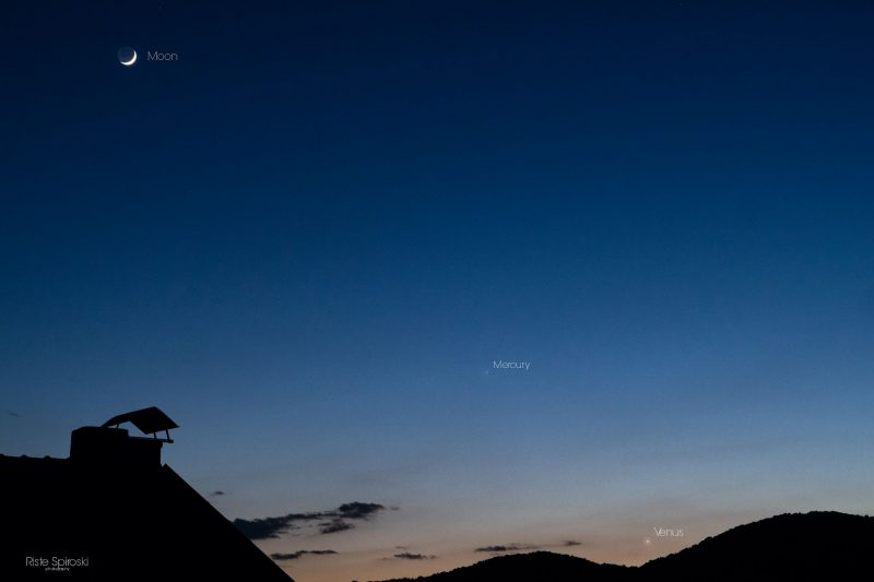 Thin crescent moon high in twilit sky with two labeled white dots below over silhouetted black hills.