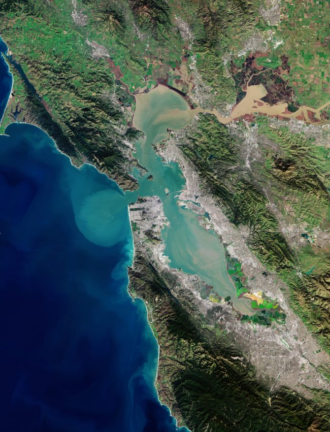 Satellite image of terrain and water around and in San Francisco Bay.