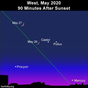 Lit side of waxing crescent points toward Mercury.