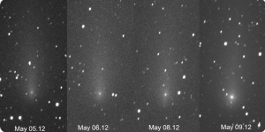 Four nights of observations of Comet ATLAS. The 4th image shows a distinctly brighter comet.