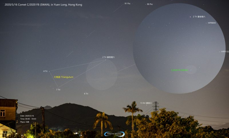 Sky view with an inset very faintly shows the comet near the constellation Triangulum.