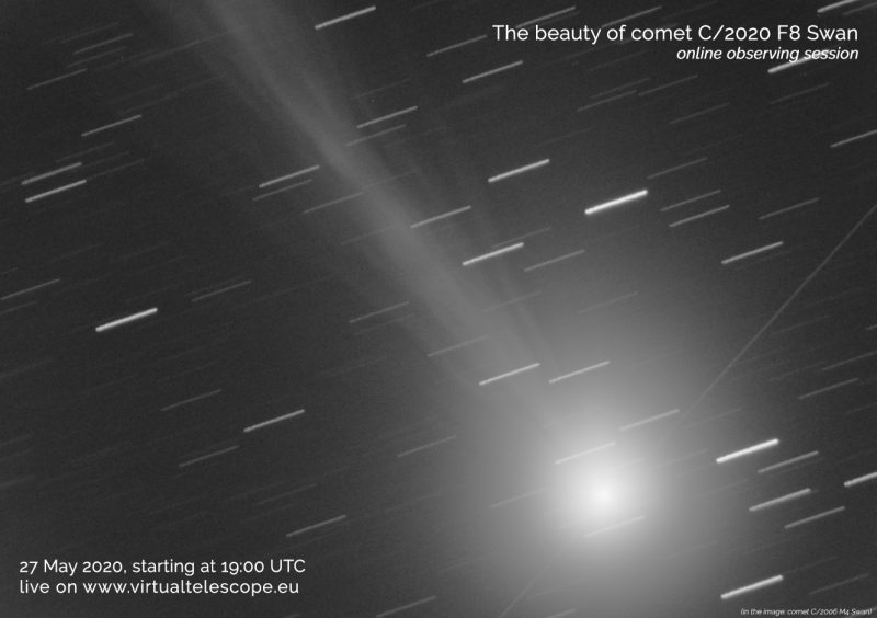 Poster showing Comet SWAN and advertising Virtual Telescope's May 27 online event.
