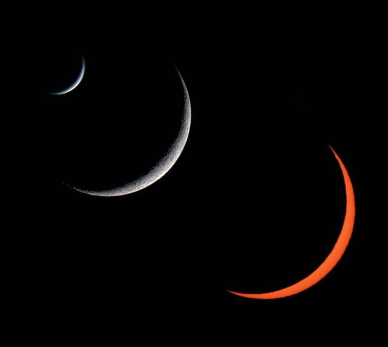 3 slender crescents - Venus, the moon, the bright orange eclipsed sun - all at about the same phase.