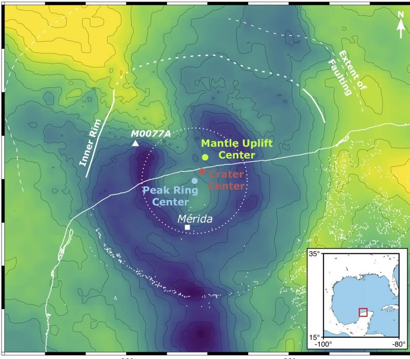 Map of underlying structure of immense crater in Yucatan.