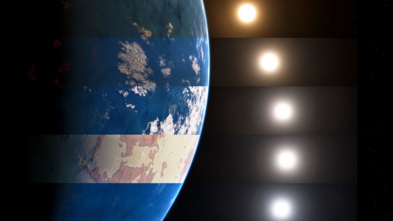 Earth-like sphere with bands of different climates with multiple slightly varying suns on black background.
