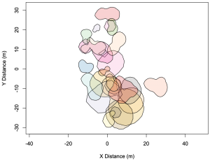 Transparent blobs of color.