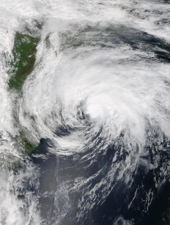 A hurricane off the U.S. Eastern seaboard.