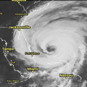 Hurricane Dorrian, around the time it's making landfall in the Bahamas.