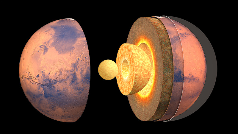 Cutaway view of concentric spherical layers, inner ones glowing hot.