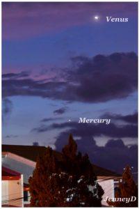 Very bright Venus in a twilight sky, and Mercury below Venus.