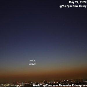 Venus and Mercury over New York City.