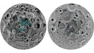Composite image showing moon's south and north poles, with indications of water ice marked in green.