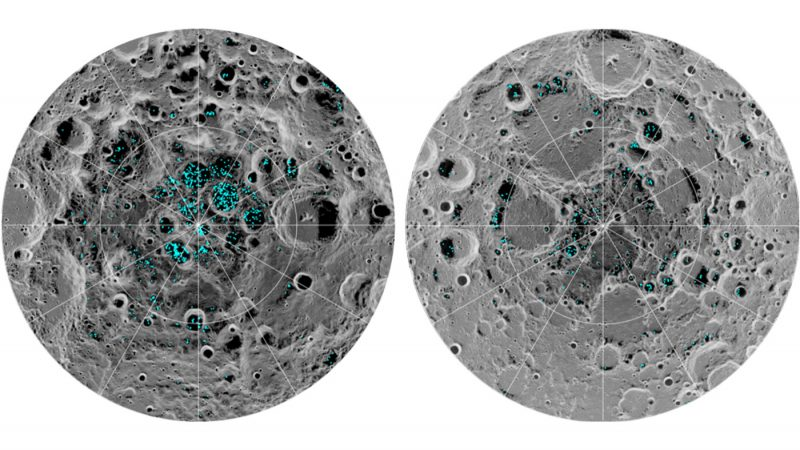 Two gray, cratered circles, with scattered spots of blue in their central areas.