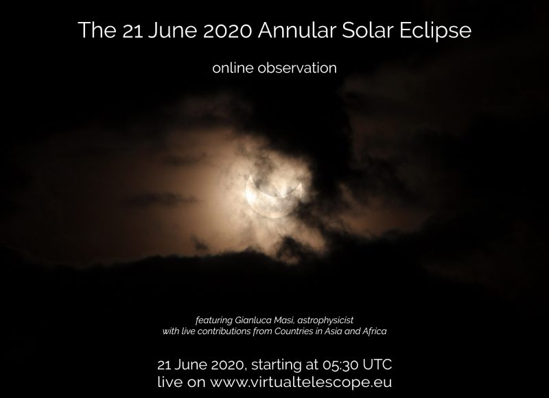 A Virtual Telescope Project poster advertising the June 21, 2020, annular solar eclipse.