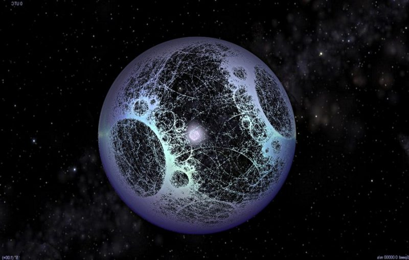 Bluish sphere with holes in it, a star in its center, and stars in background.