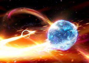 A black hole and neutron star, orbiting each other.