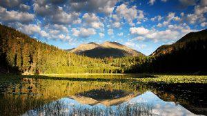 Mountain, lake and blue sky.