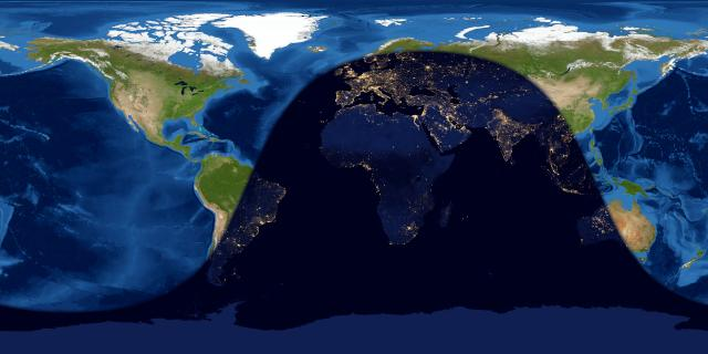 Map of entire Earth with dark area, the night side, over much of Eastern Hemisphere.