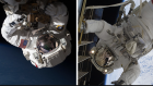 Two images of astronauts in spacesuits