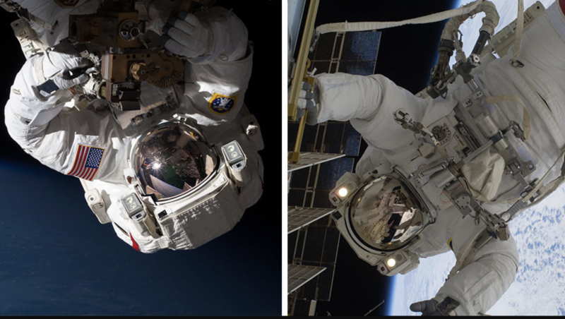 Two images of astronauts in spacesuits floating outside the space station.