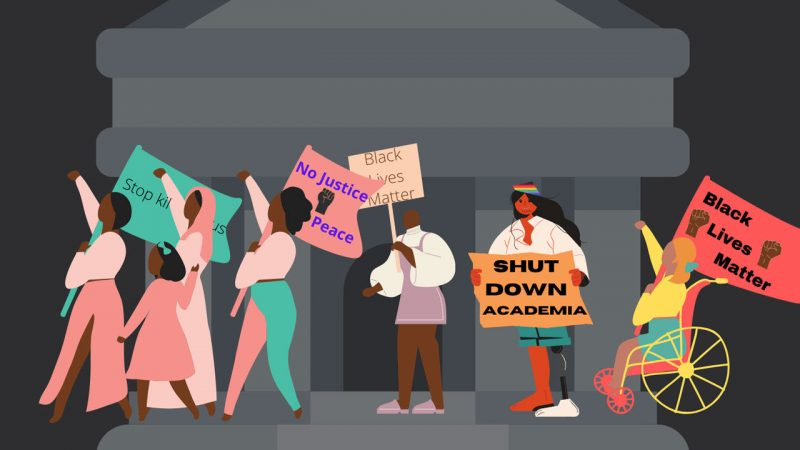 Poster-style artist's concept of people marching in a Black Lives Matter protest.