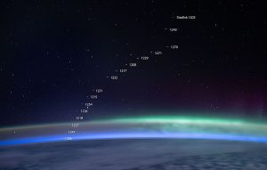 The curve of the Earth, as seen from aboard ISS, with 16 tiny streaks (the Starlink satellites), annotated with the number of each satellite.