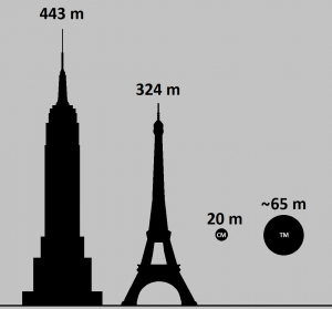 Silhouettes of two tall buildings and two smaller spheres on gray background.