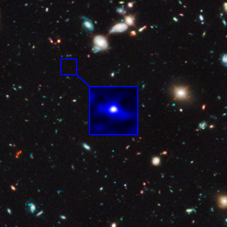A blue dot on a black background scattered with stars and distant galaxies. Inset showing dot enlarged.