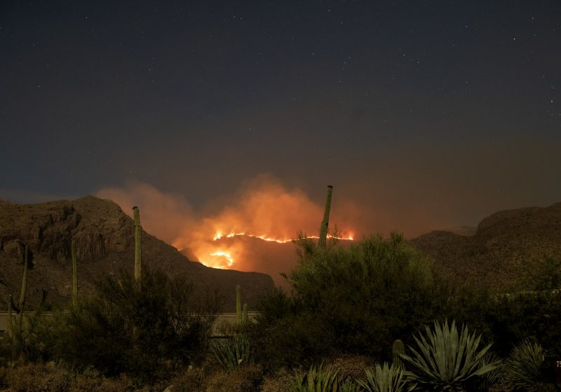 A line of bright orange fire, at night, in distant mountains, with a desert landscape in the foreground.