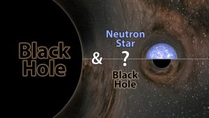 """A graphic with the words """"black hole"""" and """"neutron star,"""" with a question mark between them."""