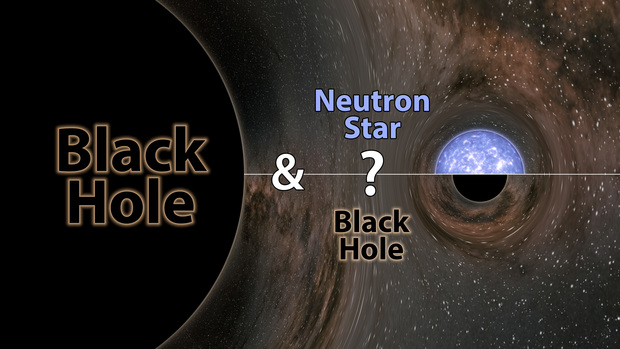 Large black circle labeled 'black hole' and smaller circle labeled 'Neutron star - question mark - black hole.'