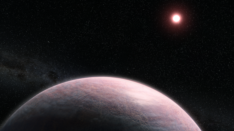 Cloudy pinkish planet with distant red sun and stars in background.