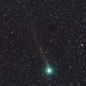 A green comet with but long tail.