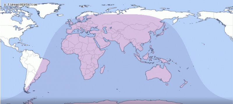 Map of the world, with most of the world's land continents shaded, except North and South America.