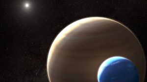 Large brownish planet with smaller bluish moon, with sun and stars in background.
