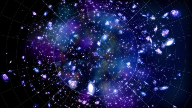 Many bright blobs and spots on a radiating grid with black background.