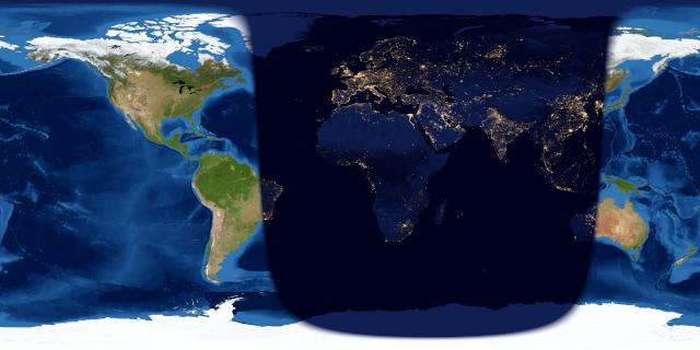 Worldwide map of the day and night sides of Earth at full moon.