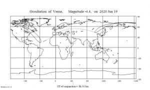 Occultation map of moon and Venus for September 19, 2020.