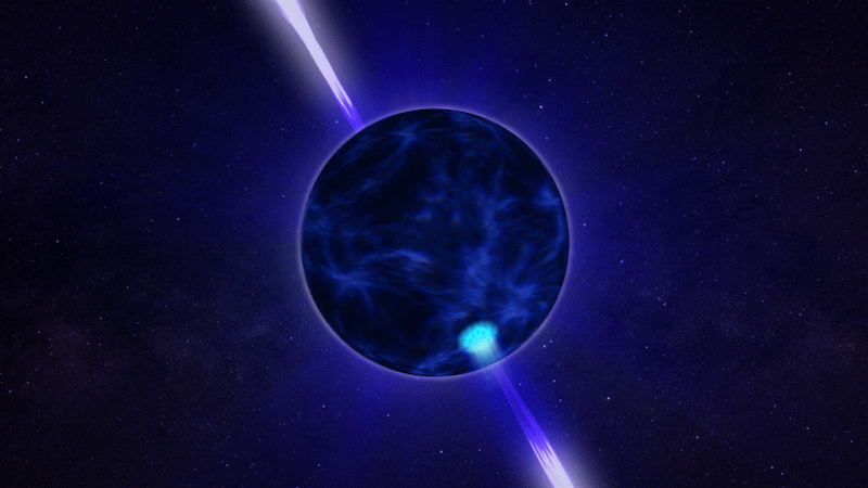 Bluish sphere with 2 light beams coming out of it on dark blue starry background.