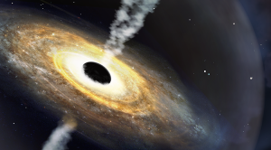 A swirling, glowing disk, with a large black ball in center, and jets radiating from both poles of the black ball.