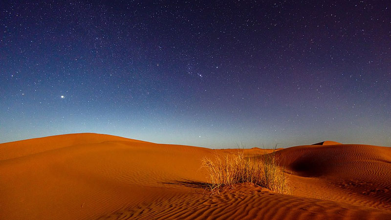 Reddish sand dunes with a patch of grass in the foreground under a night sky.
