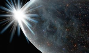 """On the left, a flash of light from which a """"universe"""" of stars and space expands."""