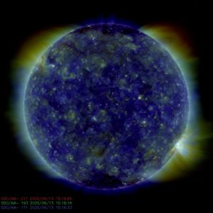 A large bluish ball, obviously shining, with a flare on the lower right.