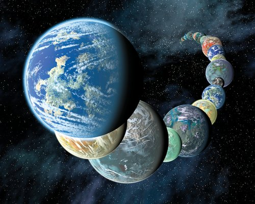 Long curving line of different-sized planets with Earth-like surface features. Stars in background.