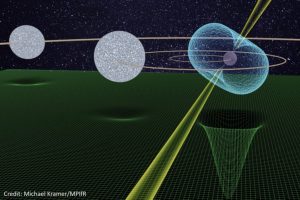 Artist's colored drawing of 3 balls, appearing to orbit each other. One ball, the pulsar has jets extending from either pole. Below them, a mesh-like structure indicates the amount of space they each curve.