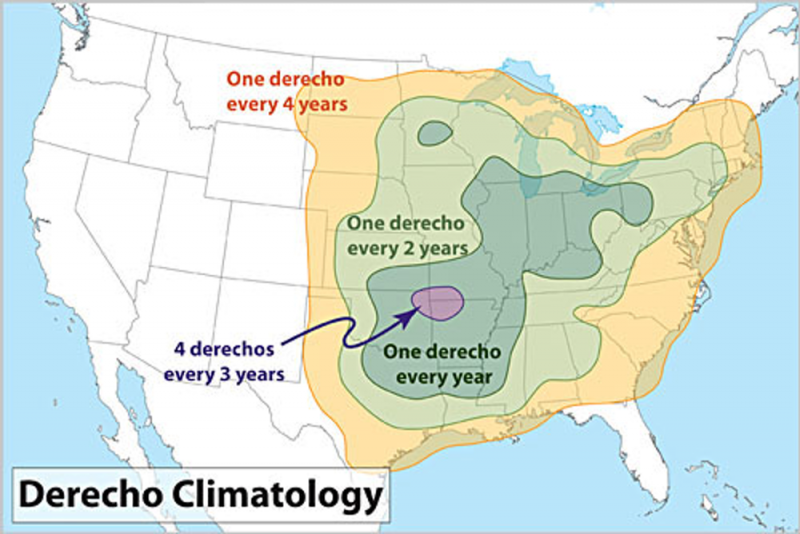 Map of U.S. showing derecho frequency centered at border of Oklahoma and Arkansas, fading outward throughout eastern U.S.