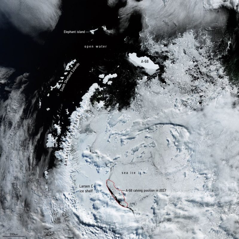 Large white area and dark slate blue sea with A-68 near edge of white area.